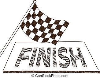Checkered flag and finish drawing - Illustration of...