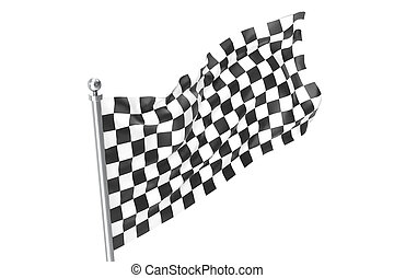 checkered, flag., bandeira, isolado, fazendo, raça, fundo, acabamento, branca, 3d