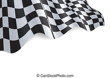 Checkered black and white flag background illustration with shadow