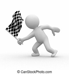 Checkered flag - 3d human with checkered flag at motion