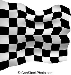 Checkered Flag - 3d checkered flag isolated in white