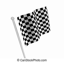 Checkered flag - 3D render of a checkered flag