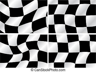 Checkered flag - four Checkered flag waving backrounds,...