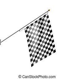 Checkered Flag isolated on white background.
