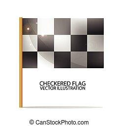 Checkered Flag. Race Symbol. Realistic Vector Illustration.