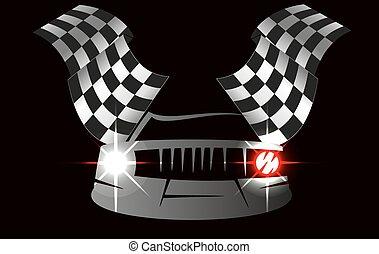 checkered flag and car racing . Stock vector illustration. Clip art