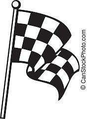 checkered flag (racing checkered flag, finishing checkered ...