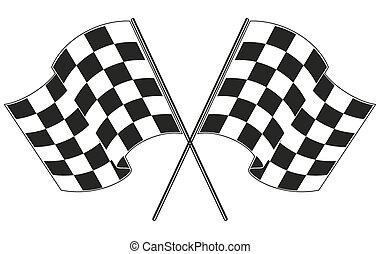 checkered flag racing. Stock vector illustration. Clip art