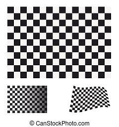 checkered flag set - Black and white checkered flag concept...