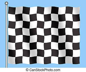 Checkered Flag - Illustration of back and white checkered...