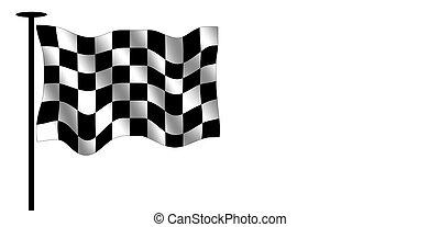 Checkered flag and flag pole.