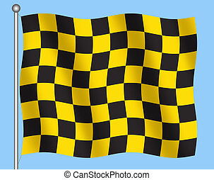 Checkered flag - Illustration of black and yellow checkered...