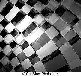 checkered flag - abstract of moving checkered flag