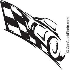 Checkered flag - symbol racing - Racing emblem - black and...