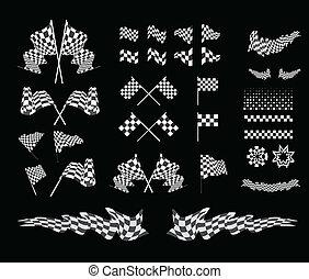 Checkered flag vector set illustration on black background