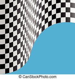 Checkered flag wave on blue blank space