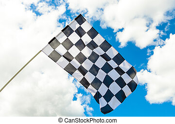 Checkered flag waving in the wind