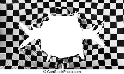Checkered flag with a big hole