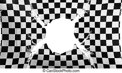 Checkered flag with a hole