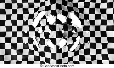 Checkered flag with a small holes