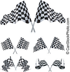checkered, flaggen, satz