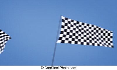 checkered flags cross left