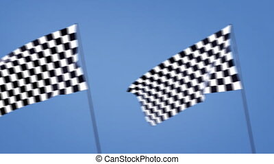 checkered flags cross right