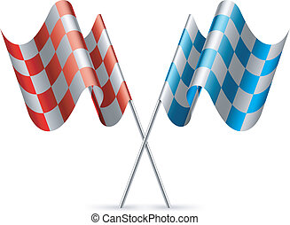 Checkered flags. - Red and blue checkered flags.