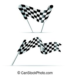 checkered, flags., noir, blanc, sport, bannière
