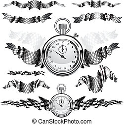 Checkered Flags set illustration