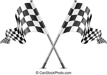 Checkered flags - Two crossed checkered flags isolated on...