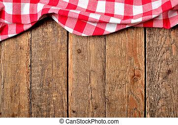 checkered, fond, bois, vendange, sommet, -, au-dessus, table, nappe, cadre, rouges, vue