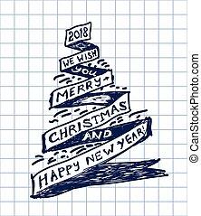 checkered, formulaire, arbre, stylo, papier, dessiné, noël, ruban
