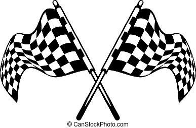 checkered, gekreuzt, winkende , schwarz, flaggen, weißes