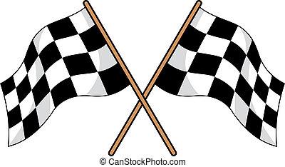 checkered, gekreuzt, zwei, flaggen, schwarz, weißes
