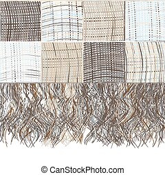 Checkered grunge striped plaid with fringe in beige, blue, ...