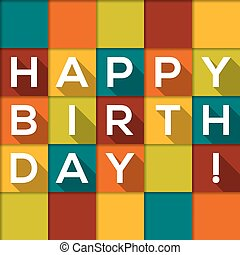 Checkered Happy Birthday card with text with long shadow