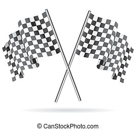 checkered, illustration., flag., waving, vetorial, correndo