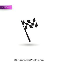 checkered, illustration., voiture, racing., flagstaff., signe., gagnant, commencer, concurrence, moto, drapeau, victoire, auto, rassemblement, icon., sport, courses, finir, chequered