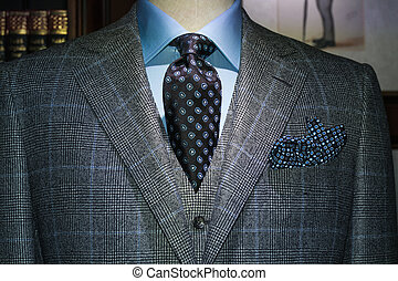 Checkered Jacket & West with Blue Shirt and Tie (Horizontal...