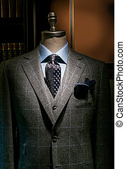 Checkered Jacket & West with Blue Shirt and Tie (Vertical...