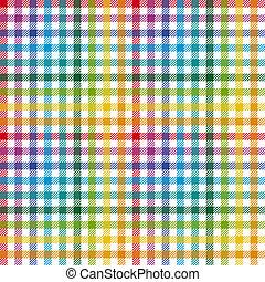 checkered, kleurrijke, model, -, tafelkleed, eindeloos