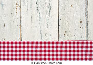checkered, legno, fondo, tovaglia, bianco rosso