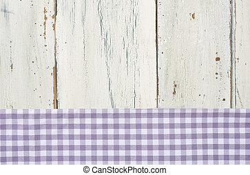 checkered, legno, fondo, viola, tovaglia, bianco