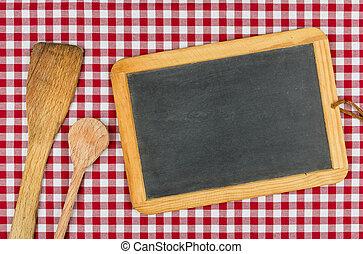 checkered, legno, lavagna, cucchiai, stoffa, vuoto, tavola, rosso