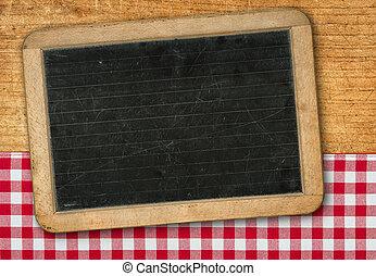 checkered, legno, lavagna, fondo, tovaglia, rosso
