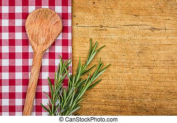 checkered, legno, rustico, cucchiaio, fondo, tovaglia