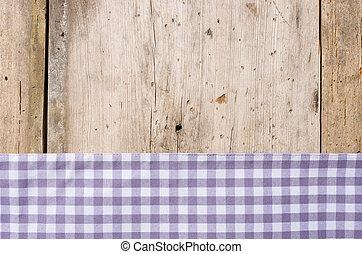 checkered, legno, rustico, fondo, viola, tovaglia