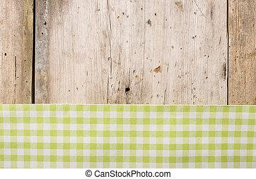 checkered, legno, rustico, sfondo verde, tovaglia