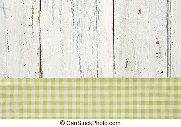 checkered, legno, sfondo verde, tovaglia, bianco